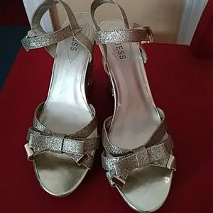 Guess gold glitter wedges size 10